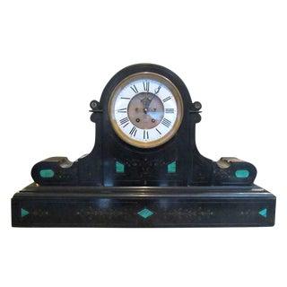 1860s Brocot & Delettrez Style Carved Black Slate Clock