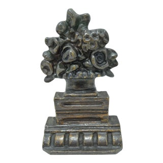Antique Cast Iron Flower Basket Sculpture