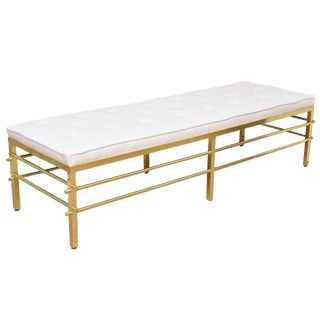 Stunning Tommi Parzinger Style Solid Brass and Upholstered Rare Modernist Bench