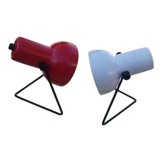 1970's Vintage Red & White Table Accent Lamps - a Pair