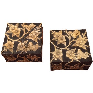 Carved Stone Boxes - A Pair