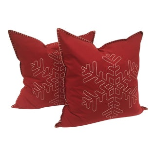 Kenneth Ludwig Red Embroidered Snowflake Pillows - A Pair