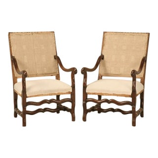Classic Pair of Antique French Os de Mouton Solid Oak Throne Chairs