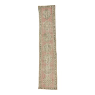 Vintage Worn Out Turkish Oushak Runner Rug - 2′5″ × 11′2″