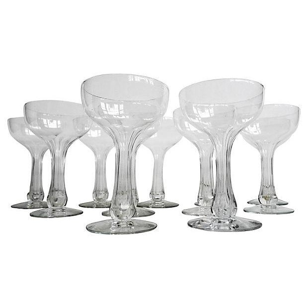 Image of Fluted Hollow-Stemmed Champagne Glasses - S/11