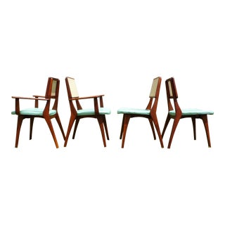 Mid-Century Modern Walnut & Cane Dining Chairs - Set of 4