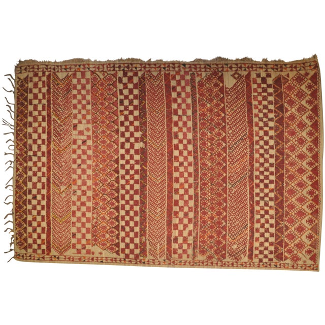 "Vintage Moroccan Wool Straw Rug - 6'8"" x 9'7"" - Image 1 of 4"