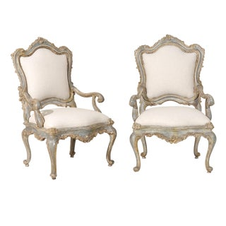 A Pair of Italian Venetian Style Painted Richly Carved Armchairs