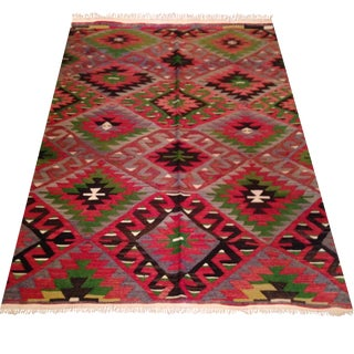 "Vintage Red & Green Turkish Rug - 4'7"" X 7'3"""
