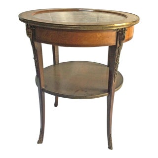 French Bronze & Marble Top Side Table