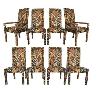 Peacock Print Upholstered Dining Chairs After Milo Baughman - Set of 8