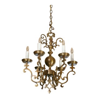Near Pair of Brass Flemish Style Chandeliers from Belgium, circa 1900