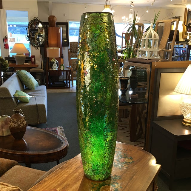 Tall Crackle Glass Vase - Image 2 of 10