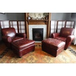 Image of RH Parisian Leather Chair & Ottoman - Set of 2