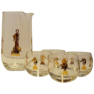 "Vintage Mid-Century Hickok ""Checkmate"" Pattern Gilt Glass Martini Set"