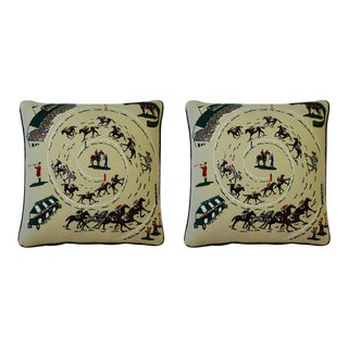Pair of Race Track Canvas Pillows