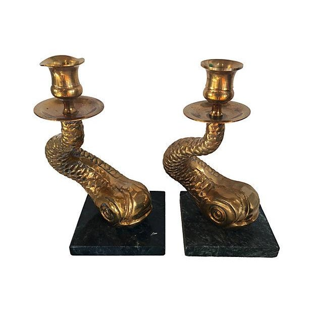 Image of Brass Dolphin Candlesticks - A Pair