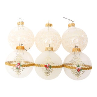 1960s Mid-Century White Christmas Ornaments w/Box - Set of 6