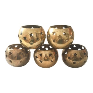 Large Pierced Brass Star Votive Holders - Set of 5