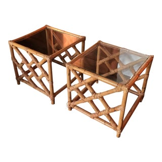 Mid-Century Bamboo Chinoiserie Style Side Tables - A Pair