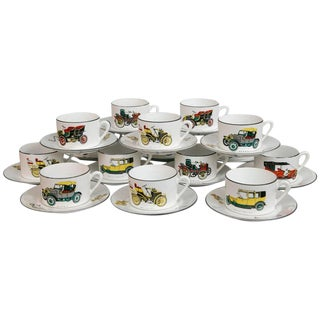 Limoges Antique Car Motif Coffee Set - 30 Pieces