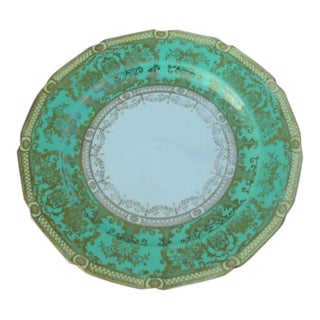 "Noritake Large 10.5"" Round Plate Green Gold Vintage 1930s Made in Japan N1487"