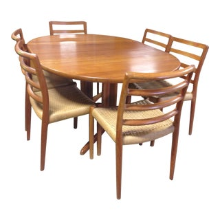 Danish Teak Dining Table 6 Ladder Back Chairs