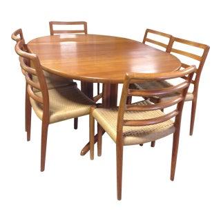 Danish Teak Dining Table & 6 Ladder Back Chairs