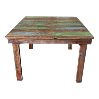 Rustic Dining Table With a Splash of Color