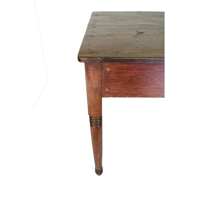 Vintage Farm Table with a Single Drawer - Image 2 of 4