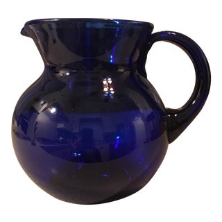Vintage Blenko Cobalt Blue Glass Pitcher