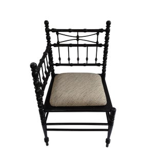 Vintage Black Faux Bamboo Corner Chair