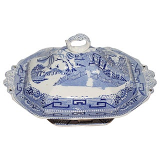 Early 19th Century Blue Willow/Transfer Ironstone Tureen