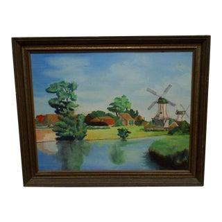 "Original Framed Painting on Board -- ""2 Windmills"""