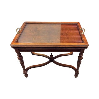 Antique Mahogany Side Table & Glass Serving Tray