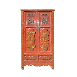 Chinese Red Golden Graphic Armoire Cabinet
