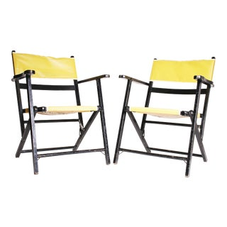 Mid Century Modern Black & Yellow Wood Folding Chairs - A Pair