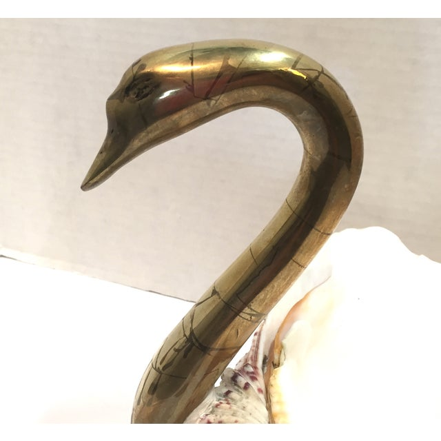 Image of Vintage 1970 Brass Swan And Sea Shell