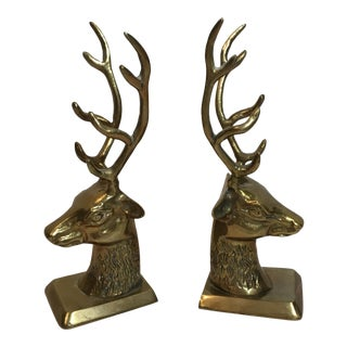 Brass 8 Point Deer Bookends - A Pair