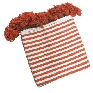 Orange & White Moroccan Blanket With Tassels