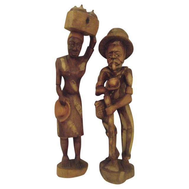 Vintage Wooden Carved Figures - Pair - Image 1 of 11
