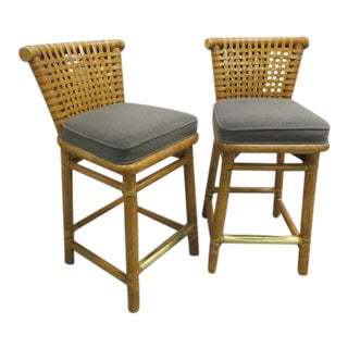McGuire Bamboo Counter Stools With Laced Rawhide - A Pair