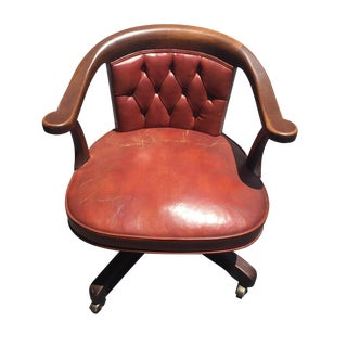 Kittinger Saddle Brown Executive Chair on Castors