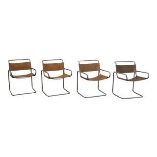 Ralph Rye for Dunbar Steel & Leather Dining Chairs- Set of 4