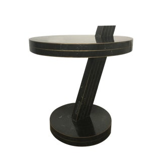 Sculptural Modern Black Marble & Brass Side Table