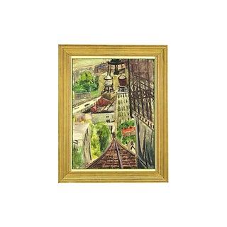 "Elizabeth Sheffield Mid-Century ""Cityscape"" Painting"