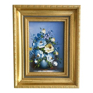 Vintage Blue Flower Still Life Painting