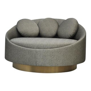 Large Brushed Brass Base Swivel Chair by Adrian Pearsall