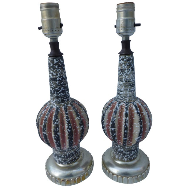 Image of Atomic Pottery Table Lamps- A Pair