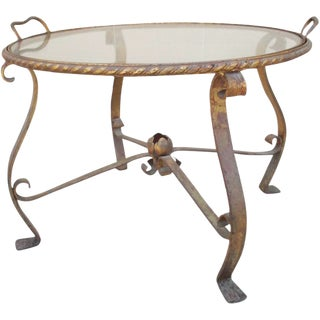 French Iron and Glass Accent Tray Table